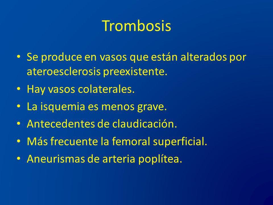 Trombosis Se produce en vasos que están alterados por ateroesclerosis preexistente. Hay vasos colaterales. La isquemia es menos grave. Antecedentes de