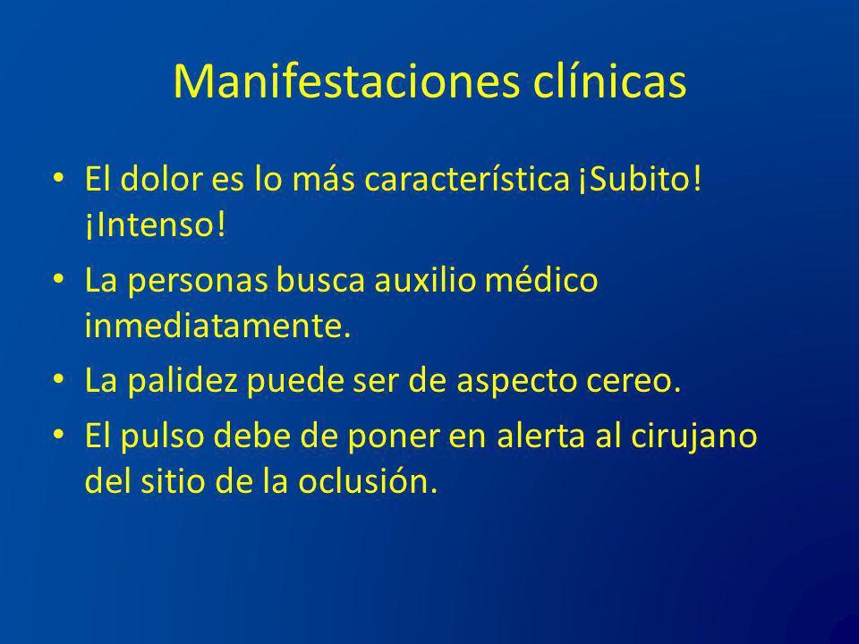 Manifestaciones clínicas El dolor es lo más característica ¡Subito! ¡Intenso! La personas busca auxilio médico inmediatamente. La palidez puede ser de