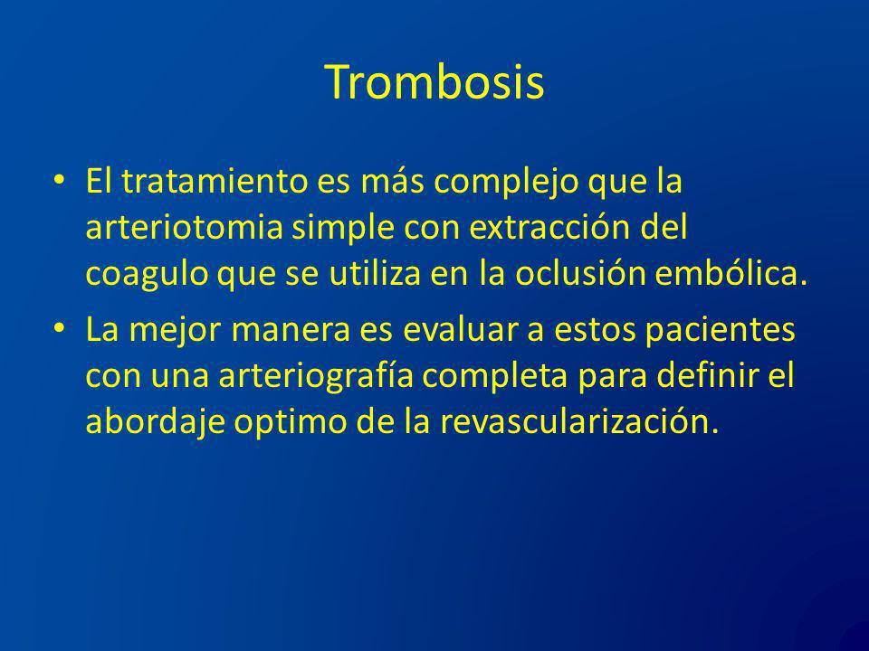 Trombosis El tratamiento es más complejo que la arteriotomia simple con extracción del coagulo que se utiliza en la oclusión embólica. La mejor manera
