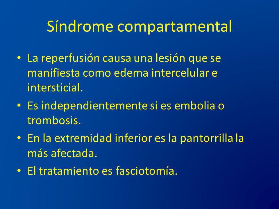 Síndrome compartamental La reperfusión causa una lesión que se manifiesta como edema intercelular e intersticial. Es independientemente si es embolia