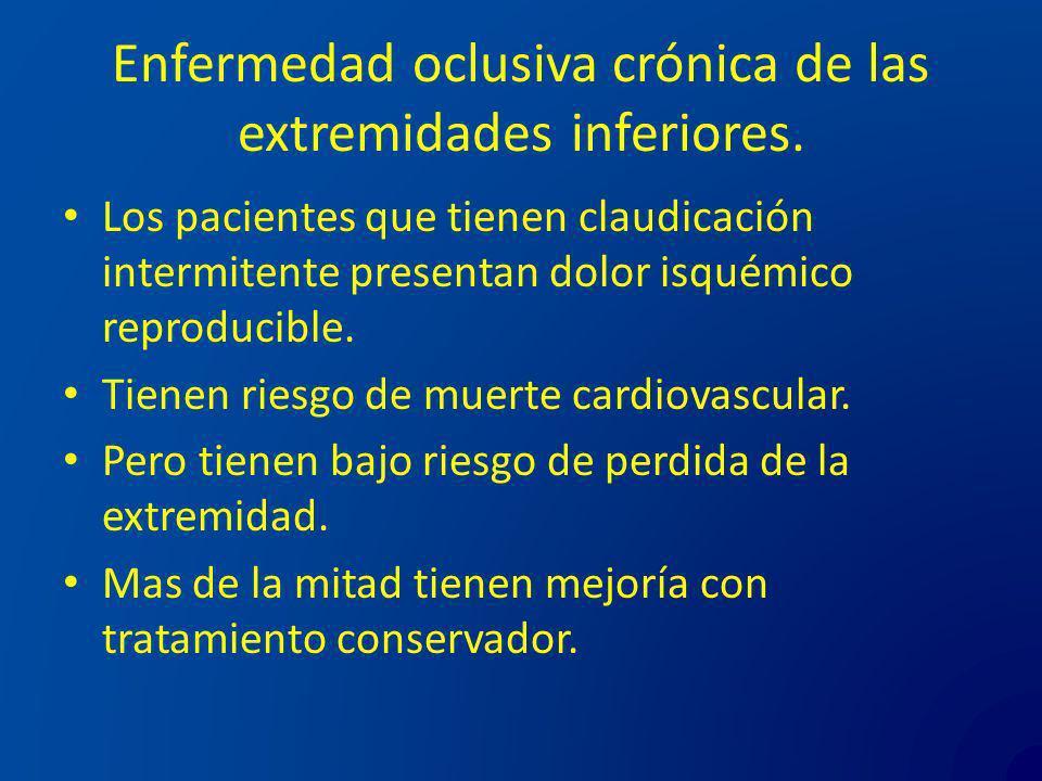 Enfermedad oclusiva crónica de las extremidades inferiores. Los pacientes que tienen claudicación intermitente presentan dolor isquémico reproducible.