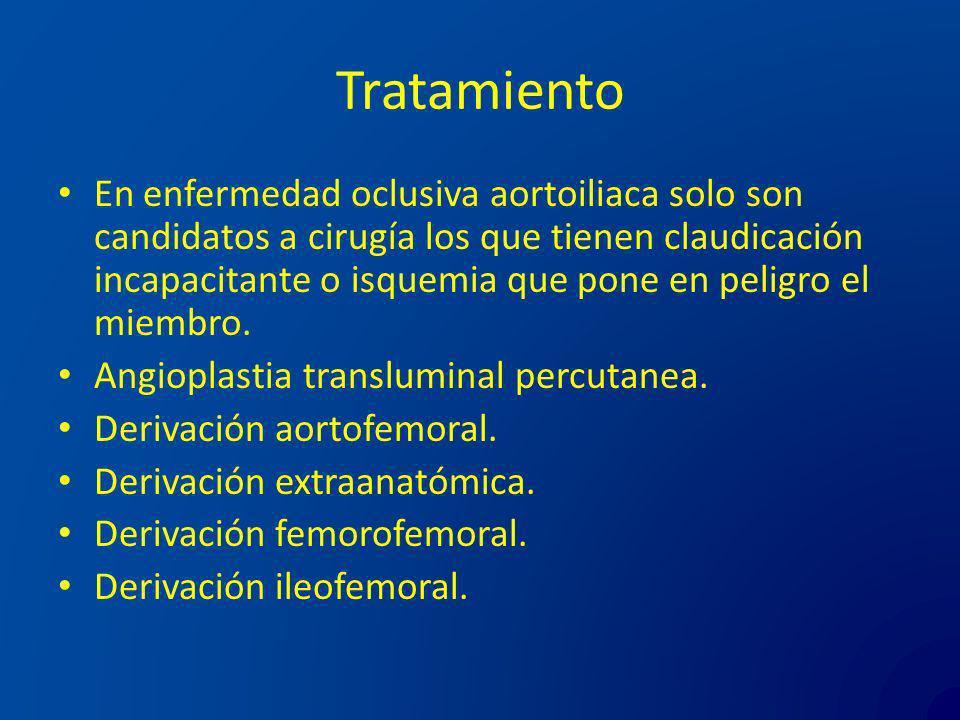 Tratamiento En enfermedad oclusiva aortoiliaca solo son candidatos a cirugía los que tienen claudicación incapacitante o isquemia que pone en peligro