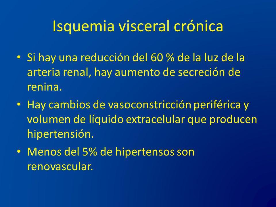 Isquemia visceral crónica Si hay una reducción del 60 % de la luz de la arteria renal, hay aumento de secreción de renina. Hay cambios de vasoconstric