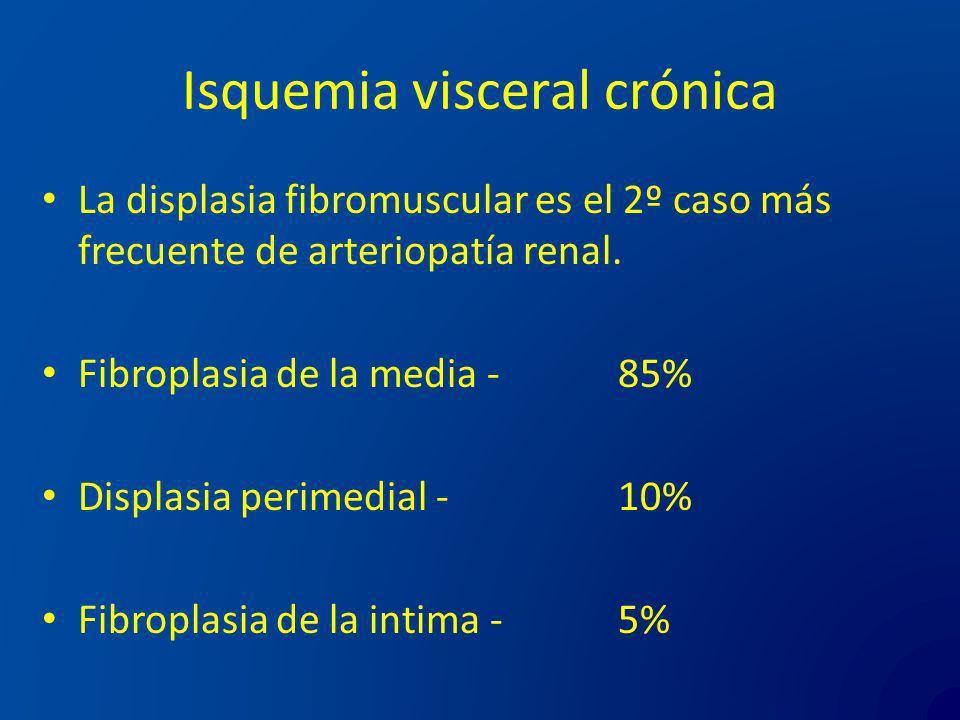 Isquemia visceral crónica La displasia fibromuscular es el 2º caso más frecuente de arteriopatía renal. Fibroplasia de la media - 85% Displasia perime