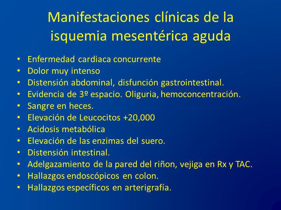 Manifestaciones clínicas de la isquemia mesentérica aguda Enfermedad cardiaca concurrente Dolor muy intenso Distensión abdominal, disfunción gastroint