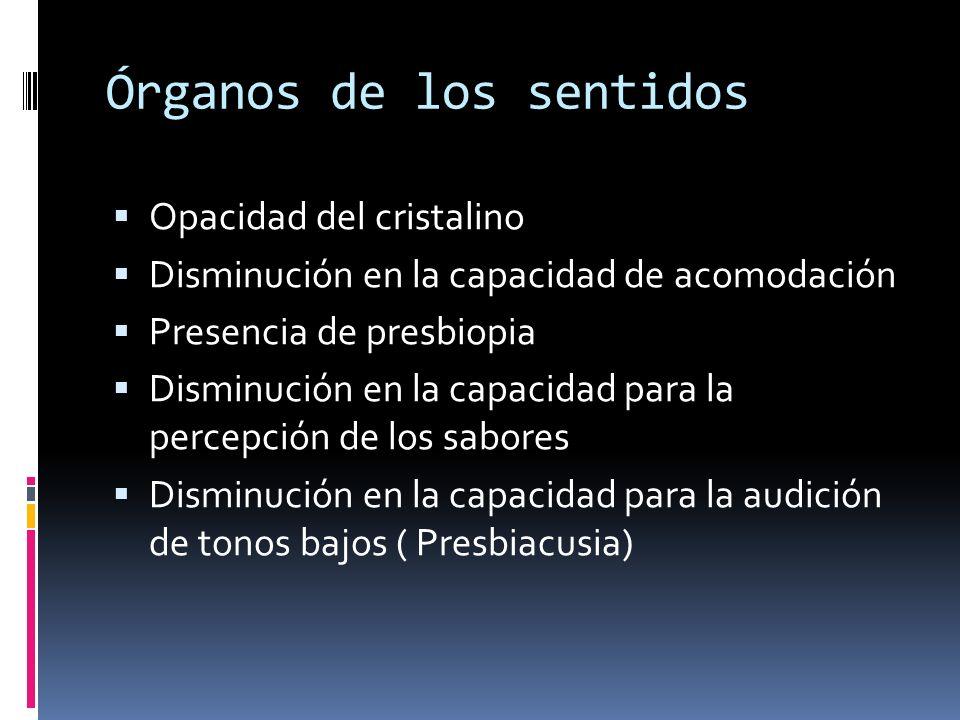 Órganos de los sentidos Opacidad del cristalino Disminución en la capacidad de acomodación Presencia de presbiopia Disminución en la capacidad para la