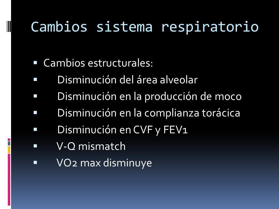 Cambios sistema respiratorio Cambios estructurales: Disminución del área alveolar Disminución en la producción de moco Disminución en la complianza to