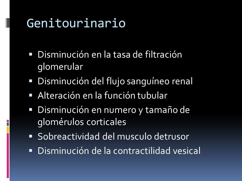 Genitourinario Disminución en la tasa de filtración glomerular Disminución del flujo sanguíneo renal Alteración en la función tubular Disminución en n