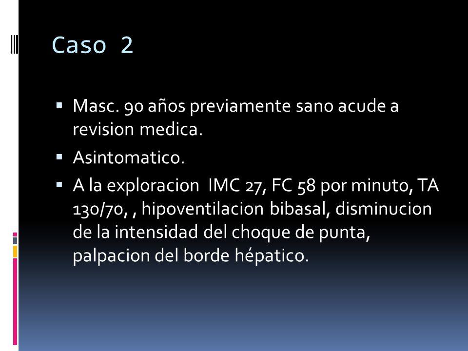 Caso 2 Masc. 90 años previamente sano acude a revision medica. Asintomatico. A la exploracion IMC 27, FC 58 por minuto, TA 130/70,, hipoventilacion bi