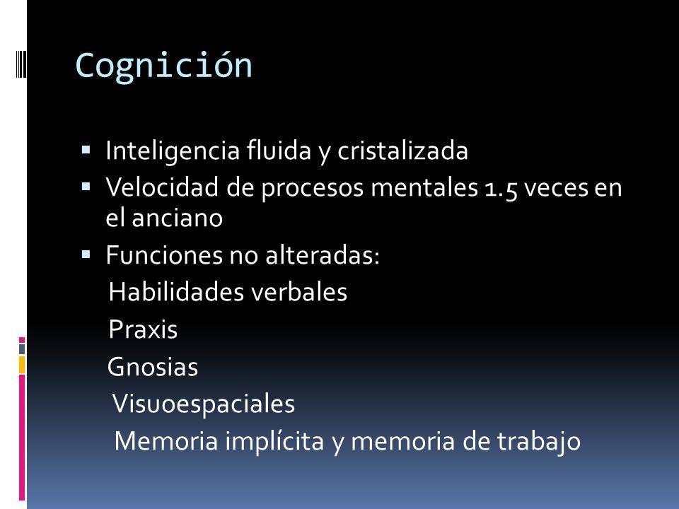 Cognición Inteligencia fluida y cristalizada Velocidad de procesos mentales 1.5 veces en el anciano Funciones no alteradas: Habilidades verbales Praxi