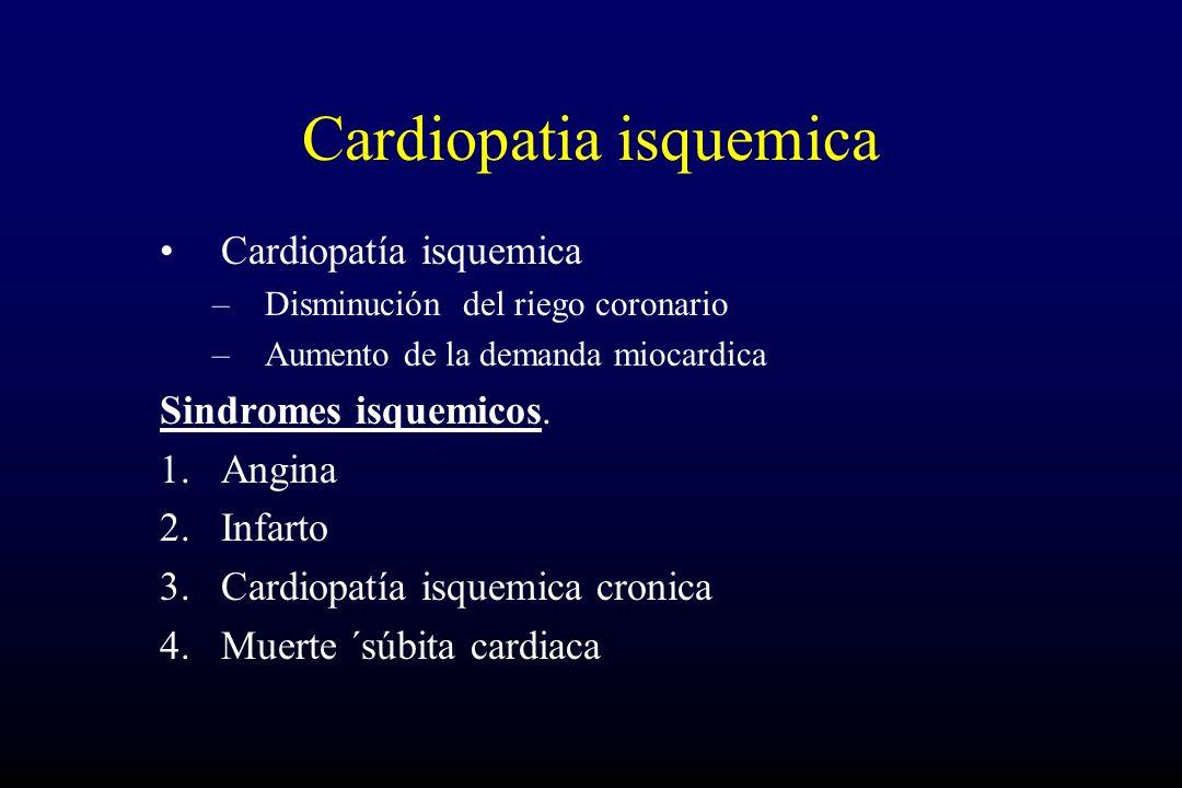 Cardiopatia isquemica Cardiopatía isquemica –Disminución del riego coronario –Aumento de la demanda miocardica Sindromes isquemicos. 1.Angina 2.Infart