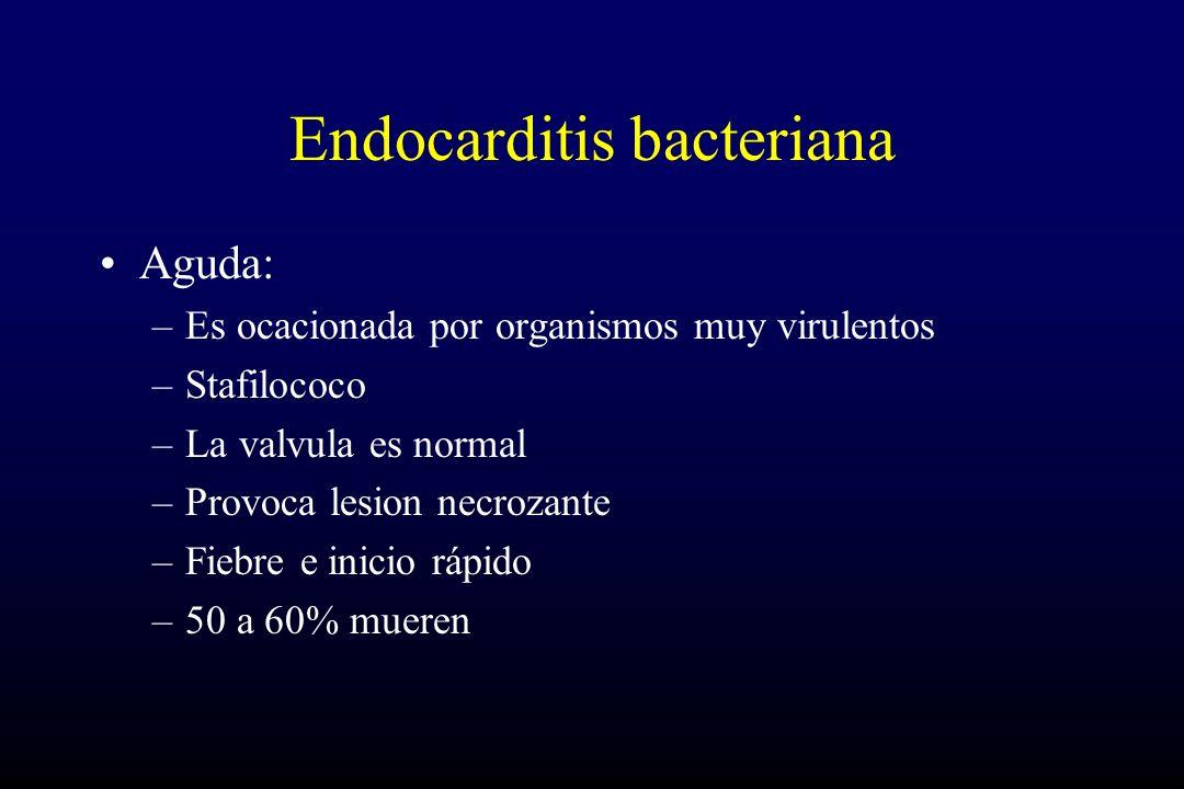 Endocarditis bacteriana Aguda: –Es ocacionada por organismos muy virulentos –Stafilococo –La valvula es normal –Provoca lesion necrozante –Fiebre e inicio rápido –50 a 60% mueren