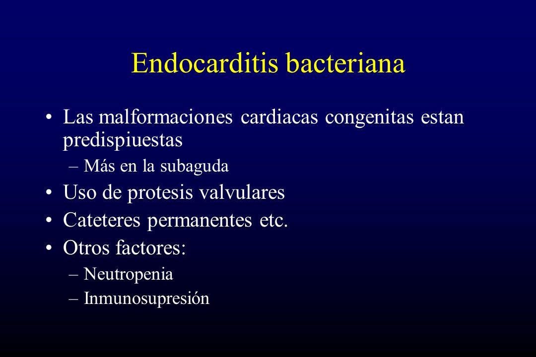 Endocarditis bacteriana Las malformaciones cardiacas congenitas estan predispiuestas –Más en la subaguda Uso de protesis valvulares Cateteres permanentes etc.