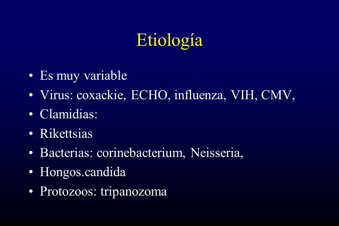 Etiología Es muy variable Virus: coxackie, ECHO, influenza, VIH, CMV, Clamidias: Rikettsias Bacterias: corinebacterium, Neisseria, Hongos.candida Protozoos: tripanozoma