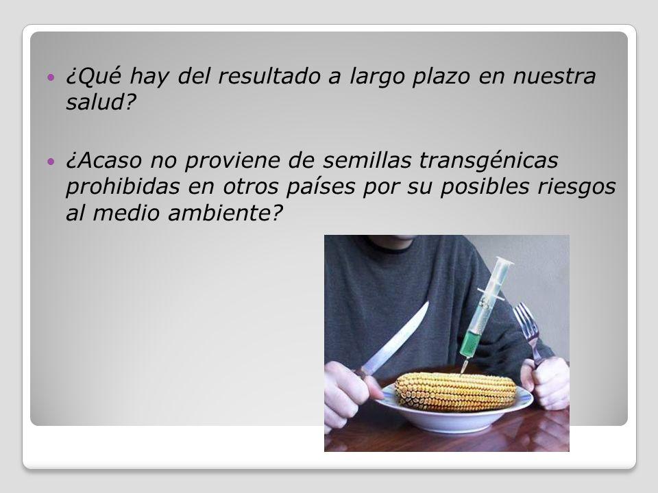 ¿Qué hay del resultado a largo plazo en nuestra salud? ¿Acaso no proviene de semillas transgénicas prohibidas en otros países por su posibles riesgos