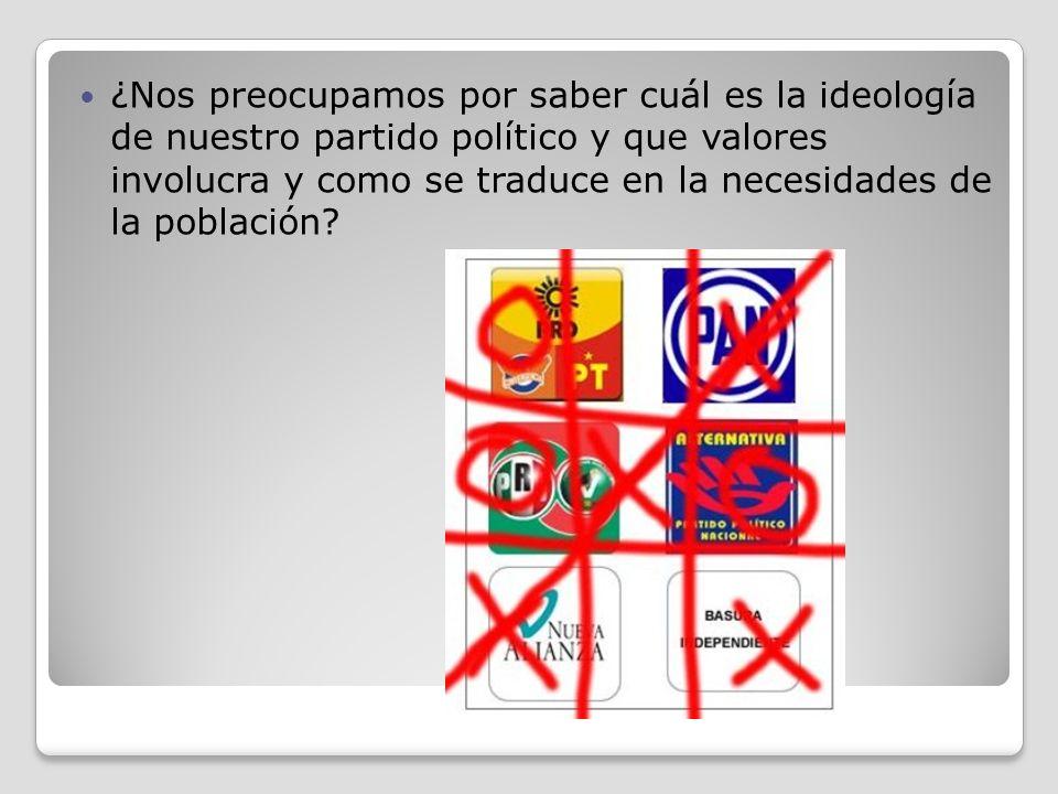 ¿Nos preocupamos por saber cuál es la ideología de nuestro partido político y que valores involucra y como se traduce en la necesidades de la població