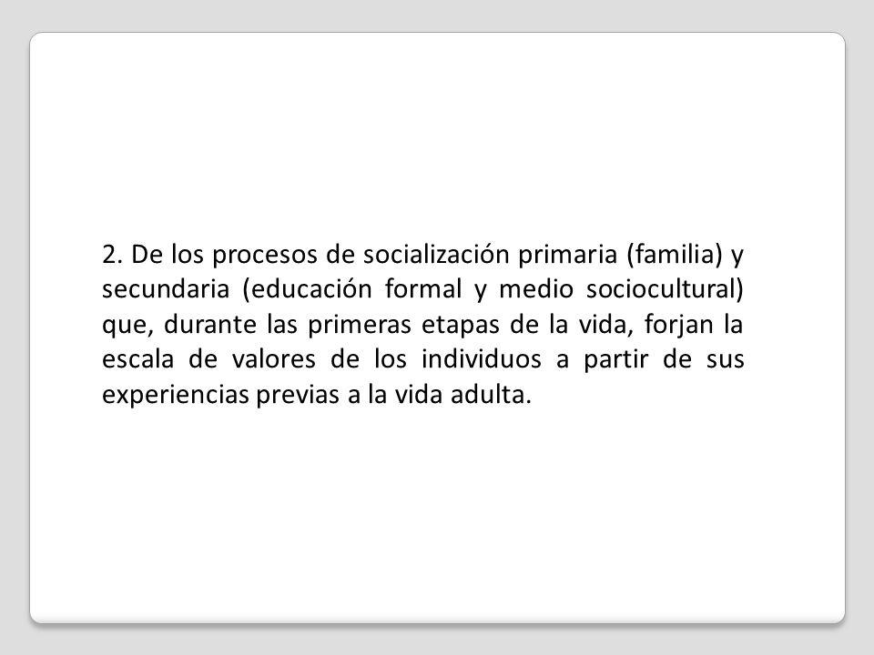 2. De los procesos de socialización primaria (familia) y secundaria (educación formal y medio sociocultural) que, durante las primeras etapas de la vi