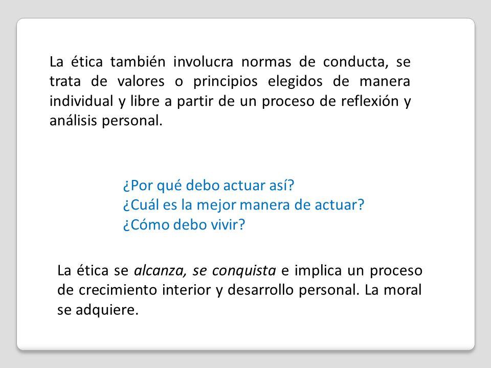 La ética también involucra normas de conducta, se trata de valores o principios elegidos de manera individual y libre a partir de un proceso de reflex