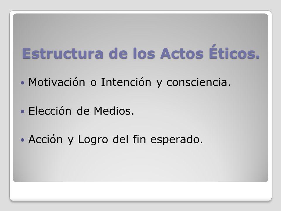 Estructura de los Actos Éticos. Motivación o Intención y consciencia. Elección de Medios. Acción y Logro del fin esperado.