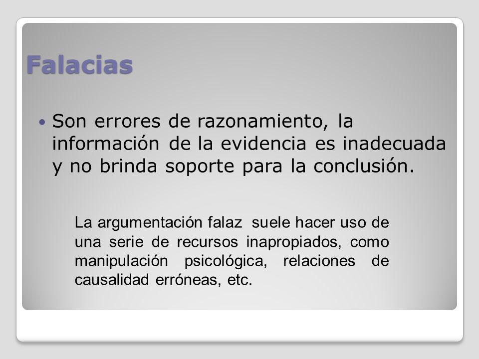 Falacias Son errores de razonamiento, la información de la evidencia es inadecuada y no brinda soporte para la conclusión. La argumentación falaz suel