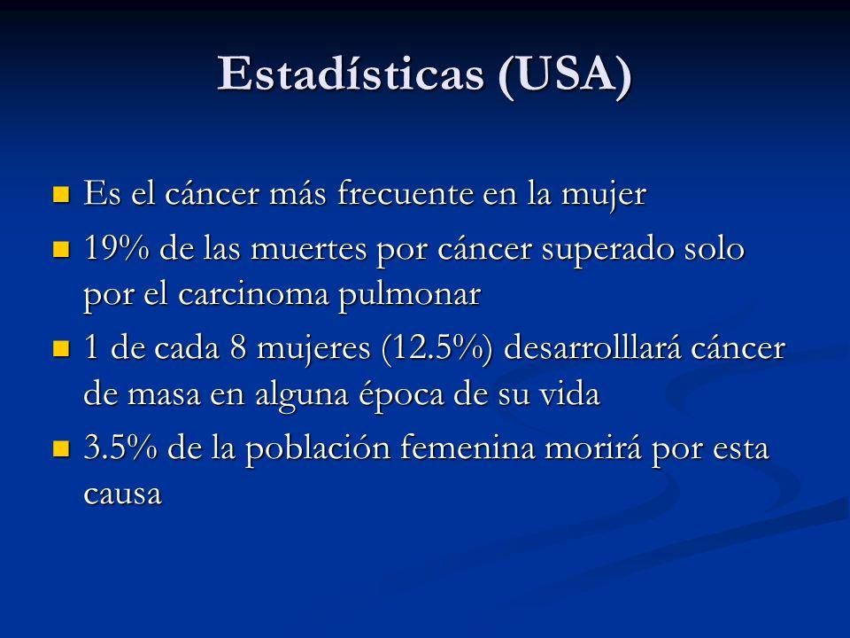 Estadísticas (USA) Es el cáncer más frecuente en la mujer Es el cáncer más frecuente en la mujer 19% de las muertes por cáncer superado solo por el carcinoma pulmonar 19% de las muertes por cáncer superado solo por el carcinoma pulmonar 1 de cada 8 mujeres (12.5%) desarrolllará cáncer de masa en alguna época de su vida 1 de cada 8 mujeres (12.5%) desarrolllará cáncer de masa en alguna época de su vida 3.5% de la población femenina morirá por esta causa 3.5% de la población femenina morirá por esta causa