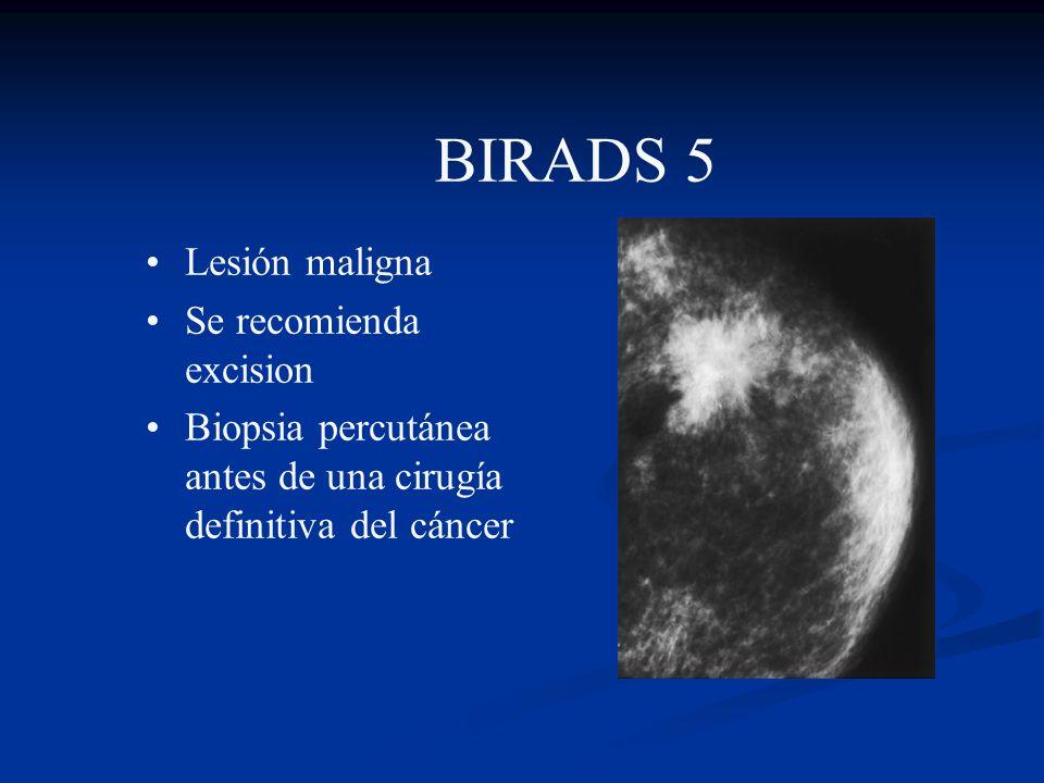 BIRADS 4 Sospechosa de malignidad Se recomienda biopsia -por palpación -con guía de ecografía -con guía mamográfica -localización con alambre y escisi