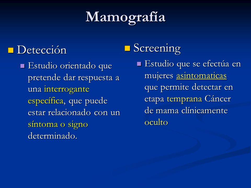 Mamografía Detección Detección Estudio orientado que pretende dar respuesta a una interrogante específica, que puede estar relacionado con un síntoma o signo determinado.