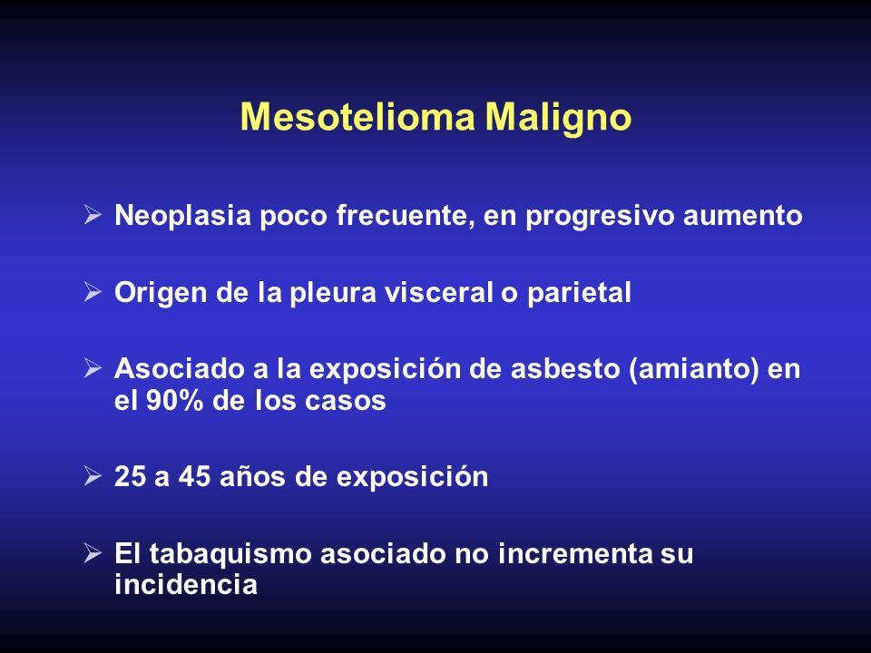 Neoplasia poco frecuente, en progresivo aumento Origen de la pleura visceral o parietal Asociado a la exposición de asbesto (amianto) en el 90% de los