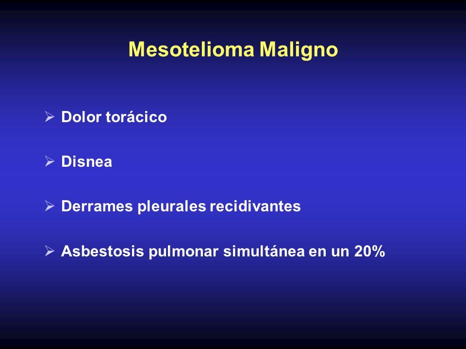 Mesotelioma Maligno Dolor torácico Disnea Derrames pleurales recidivantes Asbestosis pulmonar simultánea en un 20%