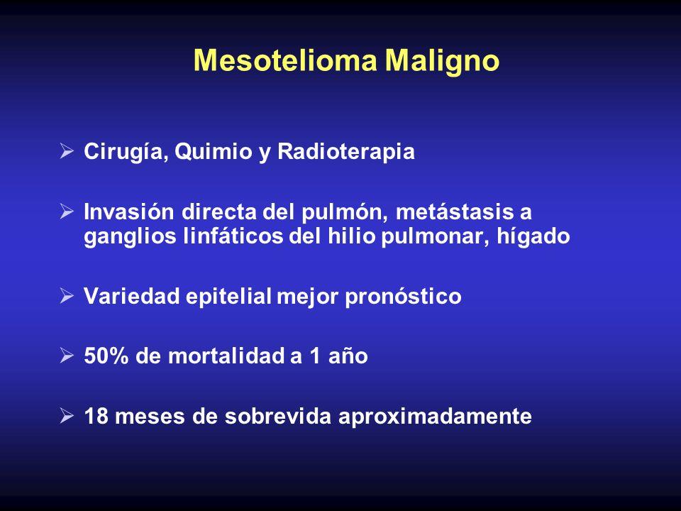 Mesotelioma Maligno Cirugía, Quimio y Radioterapia Invasión directa del pulmón, metástasis a ganglios linfáticos del hilio pulmonar, hígado Variedad e