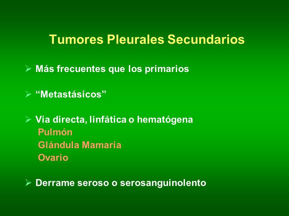Tumores Pleurales Secundarios Más frecuentes que los primarios Metastásicos Vía directa, linfática o hematógena Pulmón Glándula Mamaria Ovario Derrame