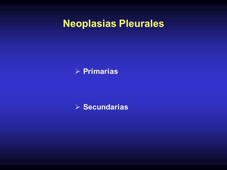 Tumores Pleurales Primarios Son tumores derivados de las células mesoteliales de la pleura, peritoneo o hasta del pericardio Existen dos tipos: benignos malignos