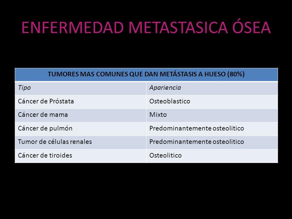 ENFERMEDAD METASTASICA ÓSEA TUMORES MAS COMUNES QUE DAN METÁSTASIS A HUESO (80%) TipoApariencia Cáncer de PróstataOsteoblastico Cáncer de mamaMixto Cá