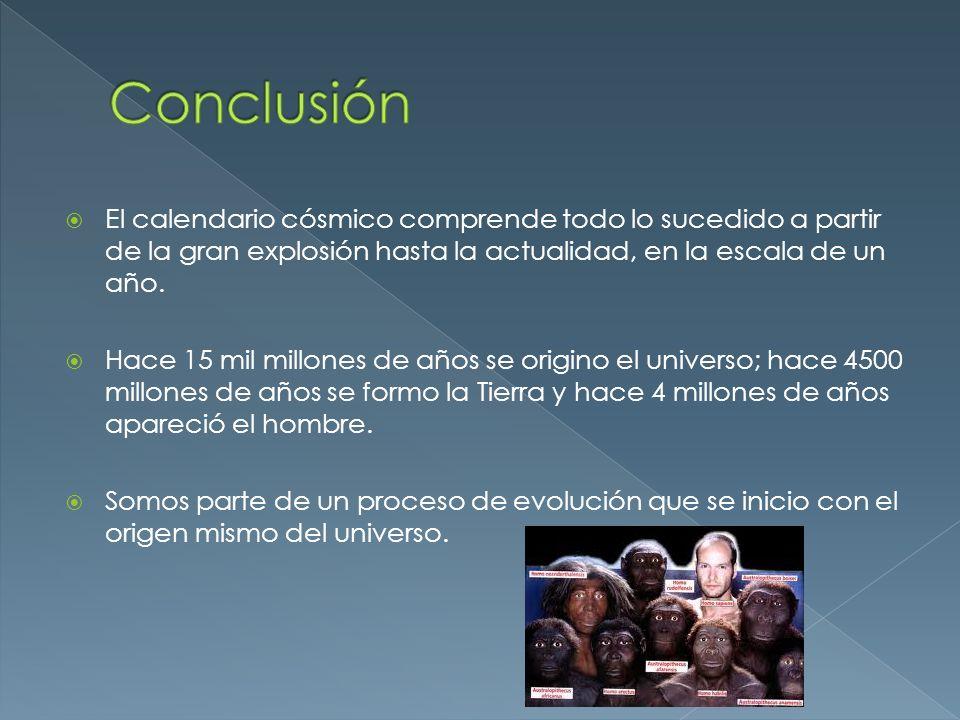 El calendario cósmico comprende todo lo sucedido a partir de la gran explosión hasta la actualidad, en la escala de un año. Hace 15 mil millones de añ