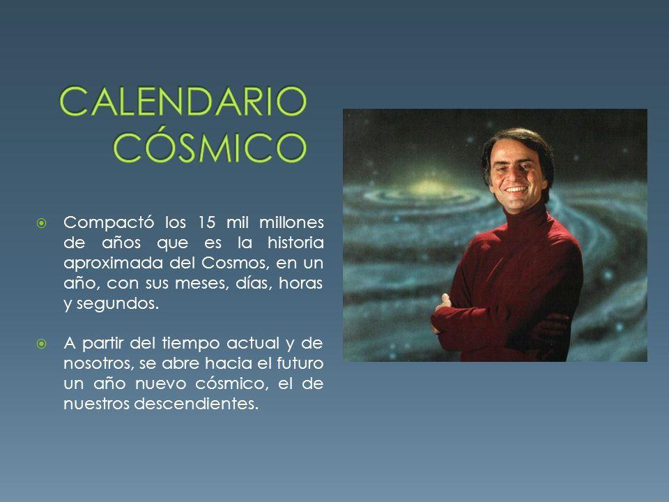 Calendario cósmico Fechas precámbricas Diciembre último día del año 1000 millones de años = 24 días 1 segundo del año = 475 vueltas de la tierra alrededor del sol