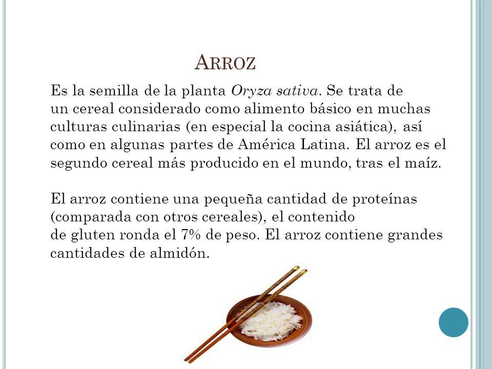 Es la semilla de la planta Oryza sativa. Se trata de un cereal considerado como alimento básico en muchas culturas culinarias (en especial la cocina a