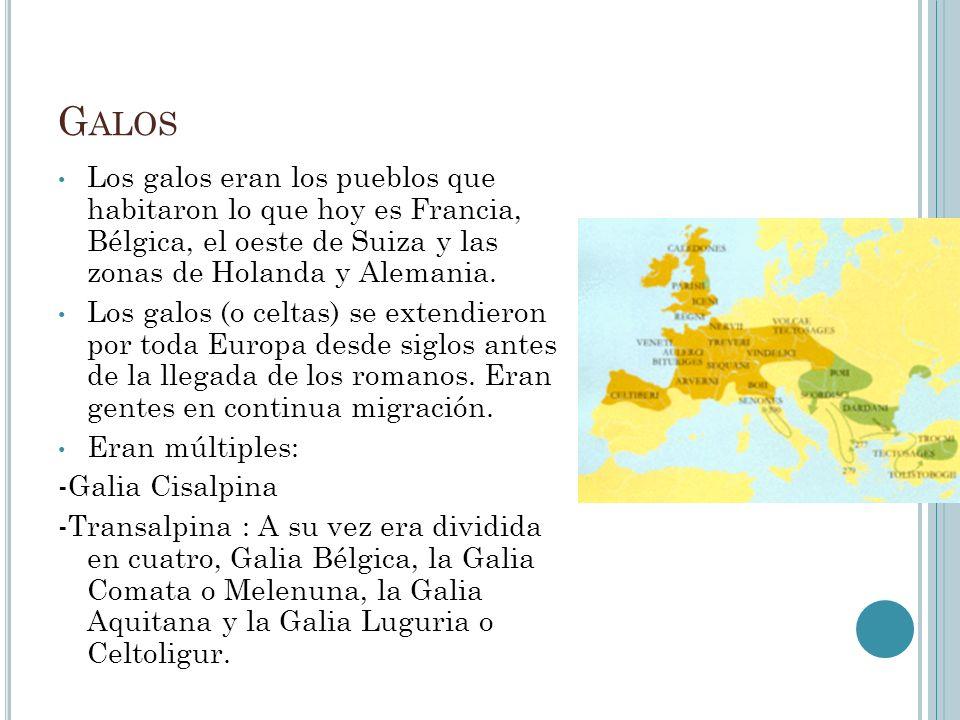 G ALOS Los galos eran los pueblos que habitaron lo que hoy es Francia, Bélgica, el oeste de Suiza y las zonas de Holanda y Alemania. Los galos (o celt