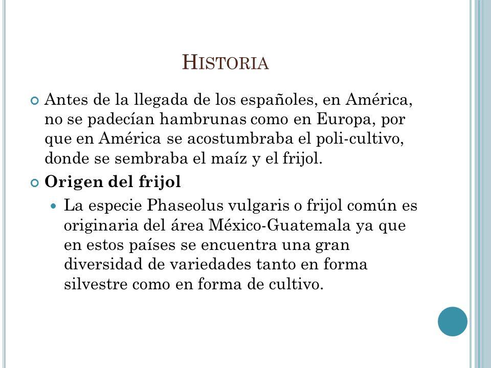 H ISTORIA Antes de la llegada de los españoles, en América, no se padecían hambrunas como en Europa, por que en América se acostumbraba el poli-cultiv