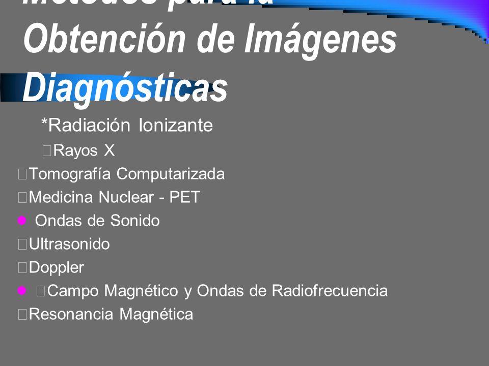 Métodos para la Obtención de Imágenes Diagnósticas *Radiación Ionizante Rayos X Tomografía Computarizada Medicina Nuclear - PET Ondas de Sonido Ultras