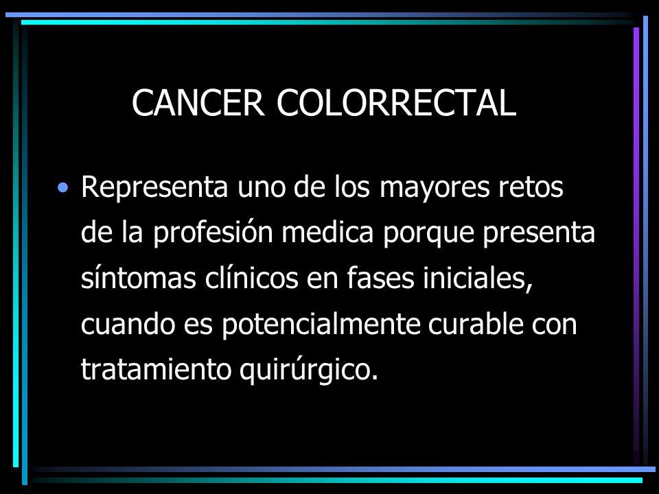 CANCER COLORRECTAL Representa uno de los mayores retos de la profesión medica porque presenta síntomas clínicos en fases iniciales, cuando es potencia