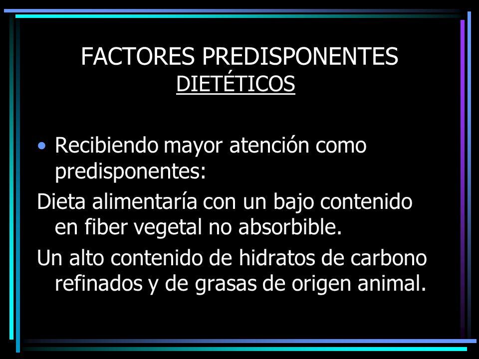 FACTORES PREDISPONENTES DIETÉTICOS Recibiendo mayor atención como predisponentes: Dieta alimentaría con un bajo contenido en fiber vegetal no absorbib
