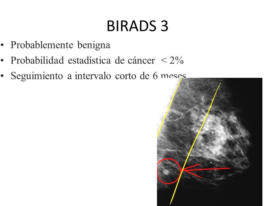 BIRADS 2 Hallazgo benigno.calcificación benigna ( vascular ).quiste.fibroadenoma.liponecrosis Seguimiento a 1 año con mamografía de screening regular.