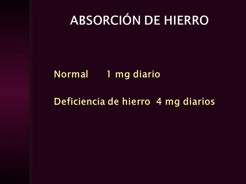 PERDIDAS DE HIERRO Desprendimiento epitelial Eliminación por orina y heces Secreción de bilis Sudor Total por día 1 mg