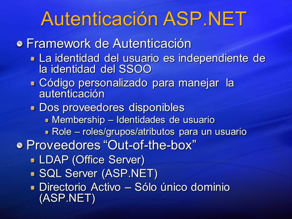 Autenticación ASP.NET Framework de Autenticación La identidad del usuario es independiente de la identidad del SSOO Código personalizado para manejar