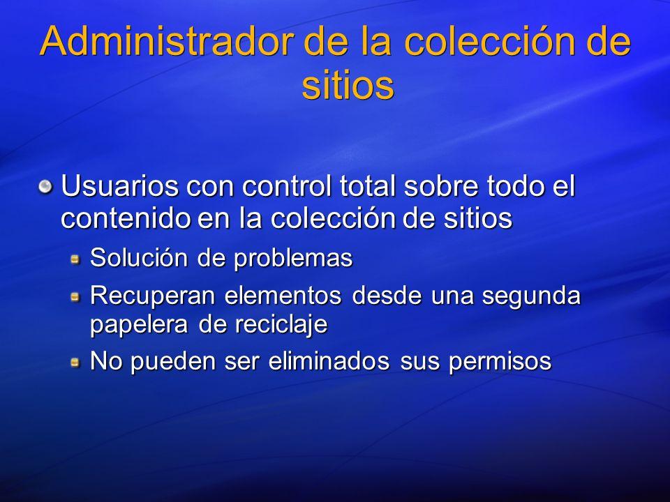 Administrador de la colección de sitios Usuarios con control total sobre todo el contenido en la colección de sitios Solución de problemas Recuperan e
