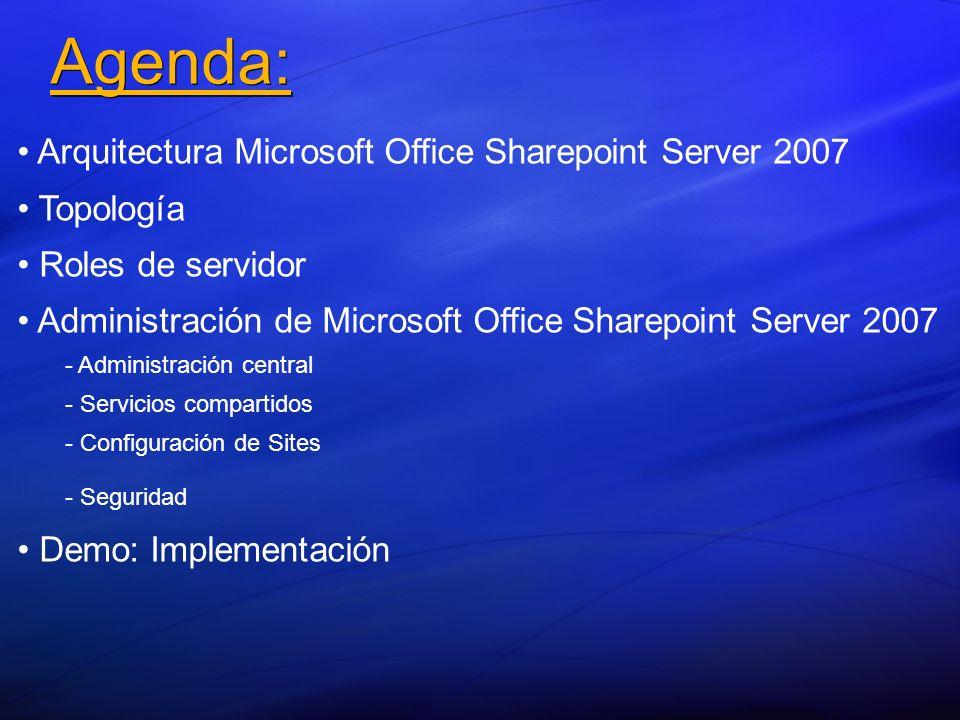 Agenda: Arquitectura Microsoft Office Sharepoint Server 2007 Topología Roles de servidor Administración de Microsoft Office Sharepoint Server 2007 - -
