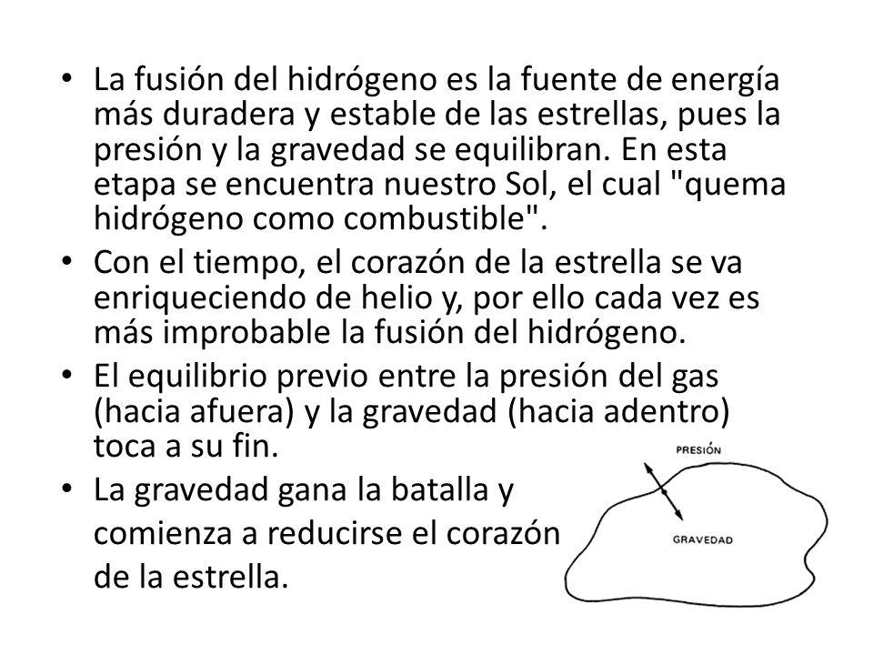 La fusión del hidrógeno es la fuente de energía más duradera y estable de las estrellas, pues la presión y la gravedad se equilibran. En esta etapa se