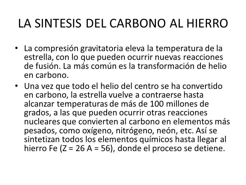 LA SINTESIS DEL CARBONO AL HIERRO La compresión gravitatoria eleva la temperatura de la estrella, con lo que pueden ocurrir nuevas reacciones de fusió