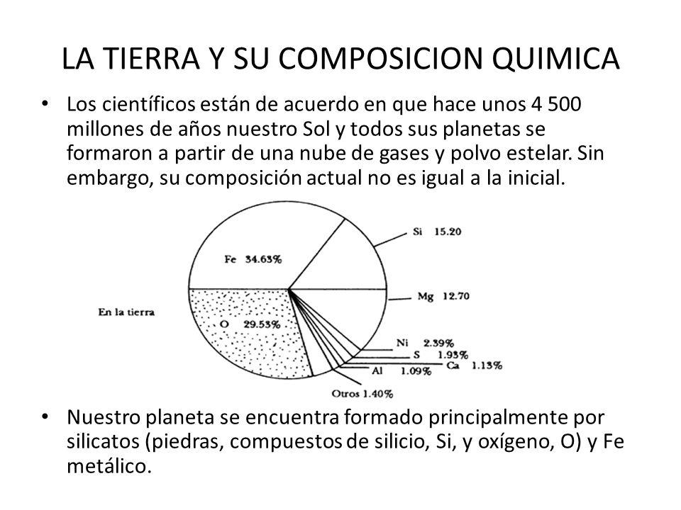 LA TIERRA Y SU COMPOSICION QUIMICA Los científicos están de acuerdo en que hace unos 4 500 millones de años nuestro Sol y todos sus planetas se formar