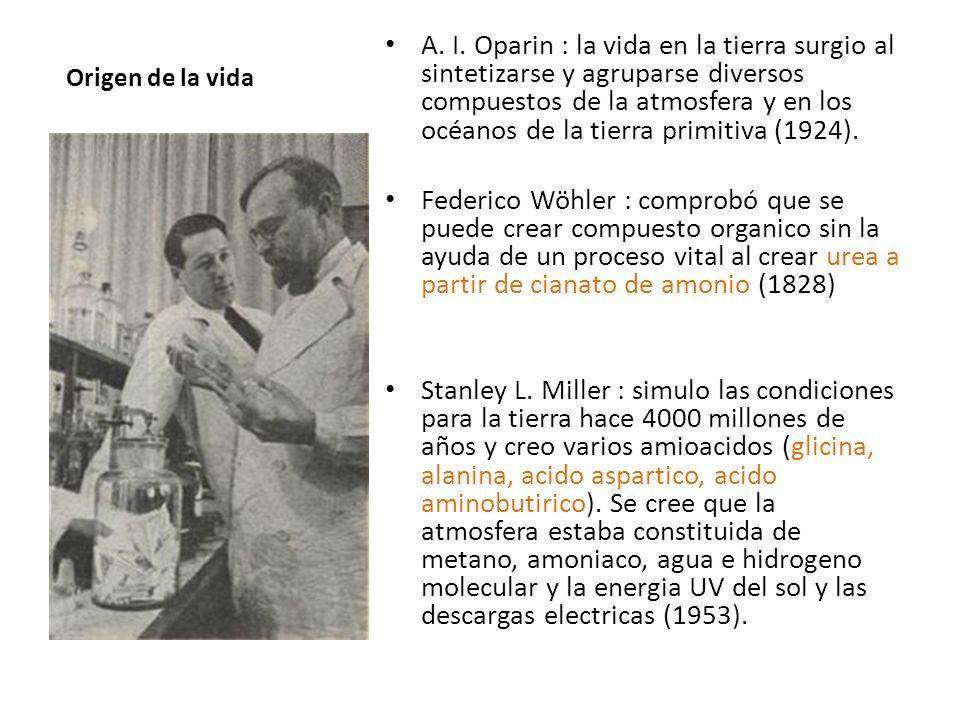 Origen de la vida A. I. Oparin : la vida en la tierra surgio al sintetizarse y agruparse diversos compuestos de la atmosfera y en los océanos de la ti